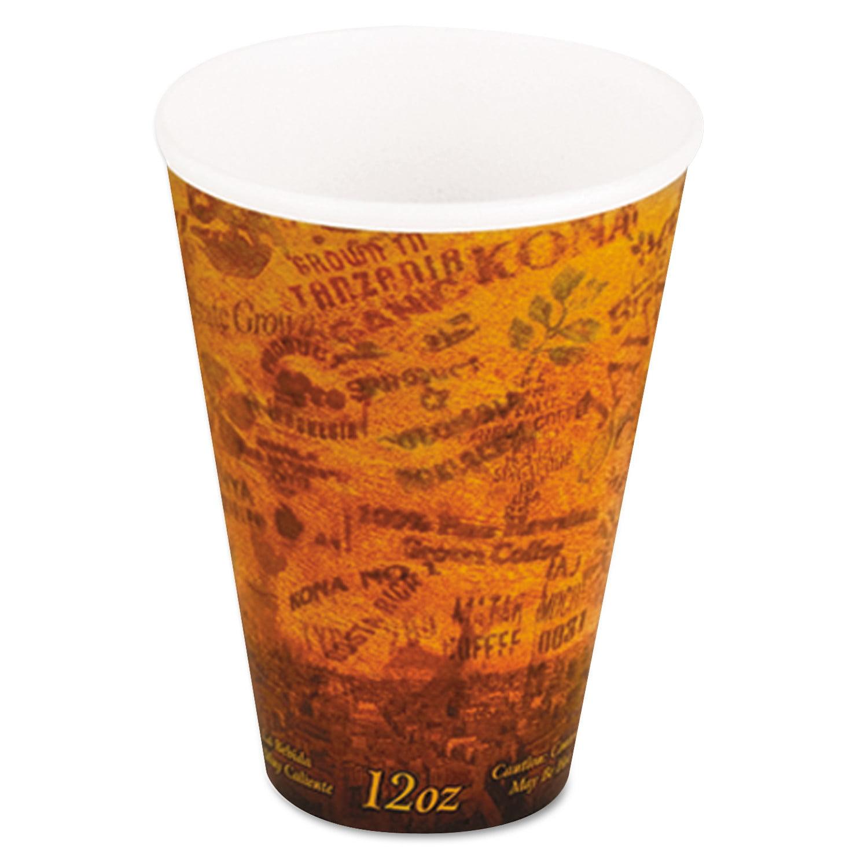 Dart Foam Hot/Cold Cups, 12oz, Brown/Black, 1000/Carton