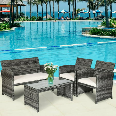 Costway 4 Pc Rattan Patio Furniture Set Garden Lawn Sofa with White Cushions Garden Oasis Patio Furniture