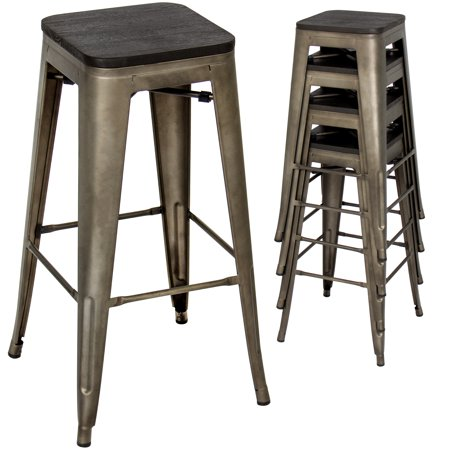 Backless Industrial Stool High Base (Best Choice Products Set of 4 30in Distressed Industrial Stackable Backless Steel Bar Stools w/ Wood Seats, Rubber Cap Feet -)