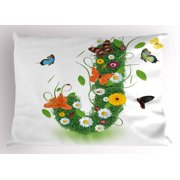 Letter J Pillow Sham Inspirational Language Items Featured Floral Butterfly Vivid Petals Flouris Nature, Decorative Standard Size Printed Pillowcase, 26 X 20 Inches, Multicolor, by Ambesonne
