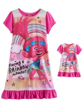 826581716 Product Image Dreamworks Movie Trolls Put Your Hair Up Nightgown for Little  Girls, Pink, Size: