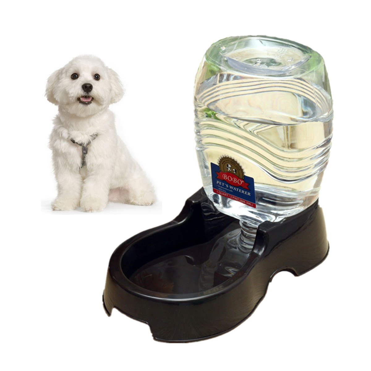 946ml Dog Cat Pet Water Dispenser Station, Auto Replenish Gravity Waterer Drinking Bottle Bowl Dish Portable Stand