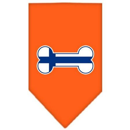 Image of Bone Flag Finland Screen Print Bandana Orange Small