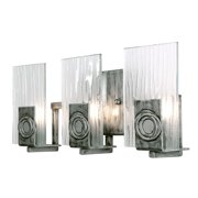 Varaluz - Polar - 3 Light Vanity - Blackened Silver Finish with Ice Crystal Recycled Glass
