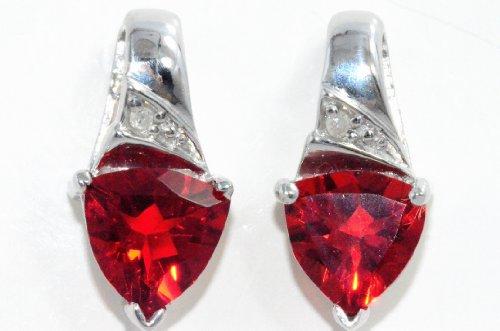 Opal 7mm /& Diamond Trillion Stud Earrings .925 Sterling Silver