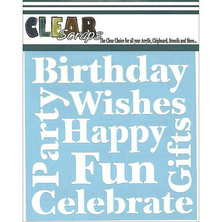 Clear Scraps CSSM6-WSHES Translucent Plastic Film Stencil, Wishes, 6-Inch x 6-Inch Multi-Colored