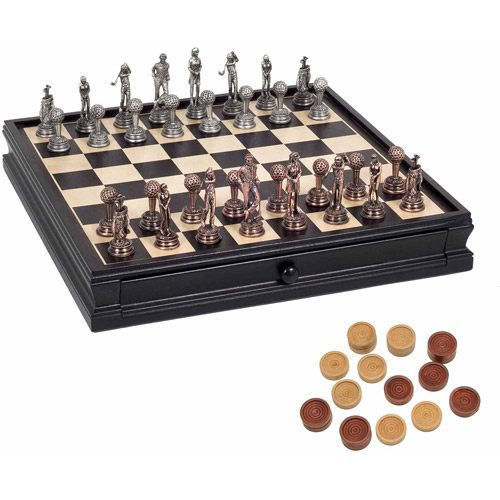 "Golf Chess and Checkers Game Set, Pewter Chessmen and Black Stained Wood Board with Storage Drawers, 15"" by Generic"