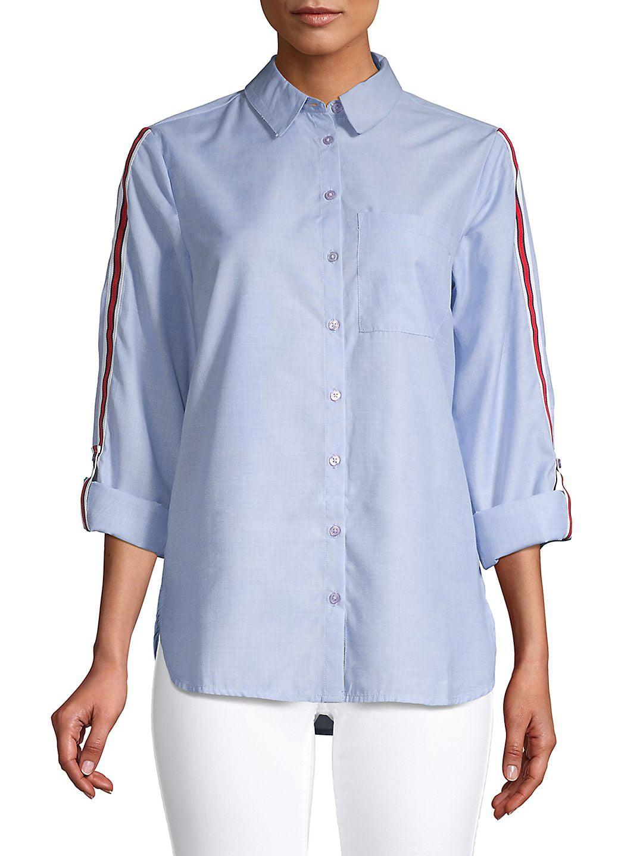Side Stripe Button-Down Shirt