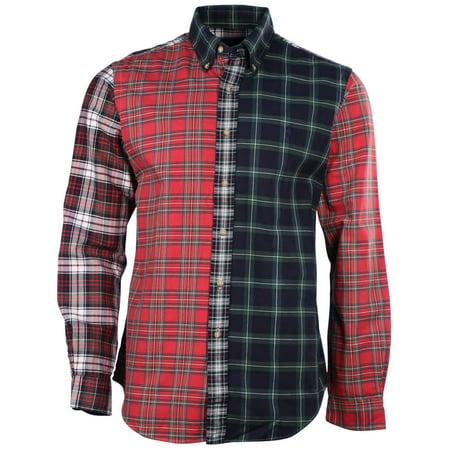 men 39 s l s plaid button down shirt tartan mix