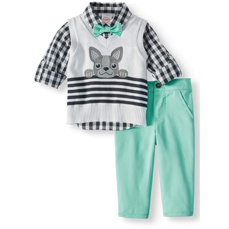 Baby Boys' Sweater Vest, Rolled Up Sleeve Woven Shirt With Bow Tie and Pants, 3-Piece Outfit Set