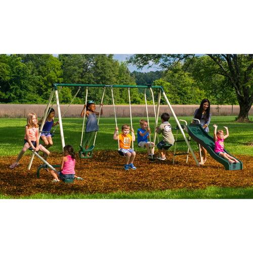 Flexible Flyer Backyard Swingin Fun Metal Swing Set Walmart Com