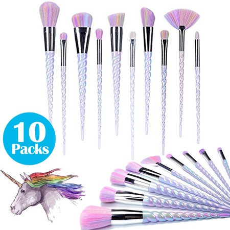 10 Packs Color Unicorn Spiral Makeup Brush Set Fantasy Make-Up Tools Liquid Foundation Eye Shadow With A Cute Rainbow-Colored - Cute Mummy Makeup