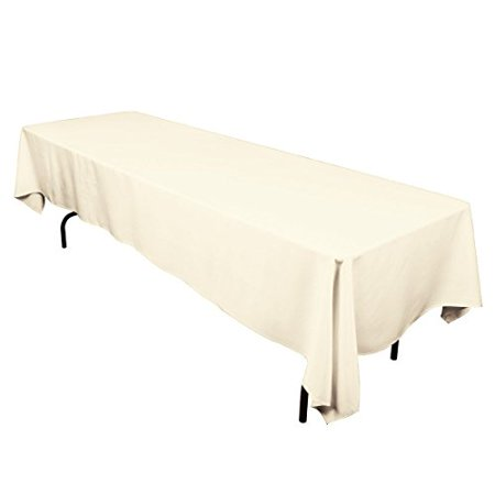 Gee Di Moda Tablecloth Rectangular 60 x 126 inch Polyester - Ivory Tablecloth - Thanksgiving Tablecloth Wedding Tablecloth Dining Room Table Cloth Rectangle Party Tablecloths for Rectangle Tables ()