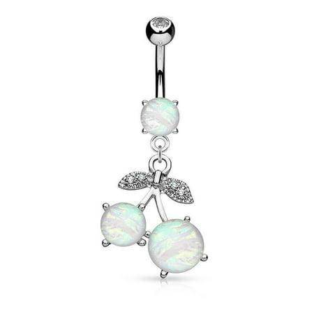 Cherry Belly Button Ring Opal  14g dangle Navel (Cherry Opal)