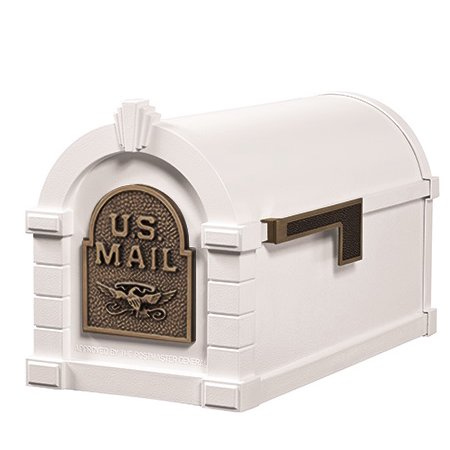 Keystone Mailbox WHT w/Antique Bronze Eagle
