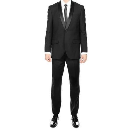 Premium 2Pc Shawl Collar Black Slim Fit Tuxedo 34S 28W