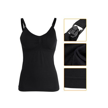 Slim Breastfeeding Tank Top with Built-in Nursing Bra Maternity Vest Undershirt, Nursing Tank Top