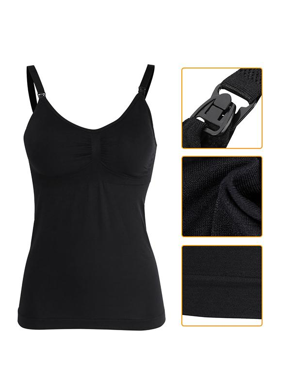 Slim Breastfeeding Tank Top with Built-in Nursing Bra Maternity Vest Undershirt, Nursing Tank Top