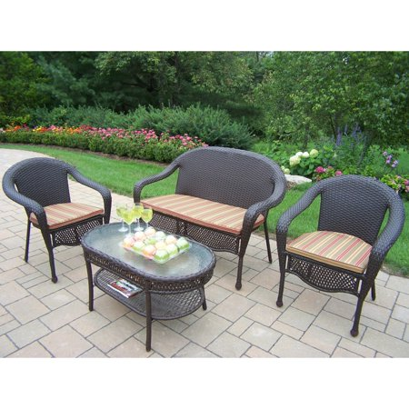 Oakland Living Elite All-Weather Wicker Conversation Set