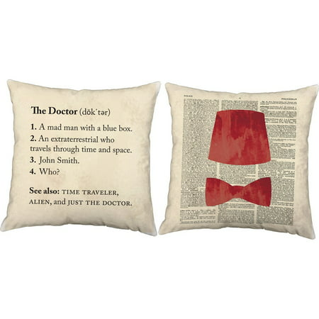 Set Of 2 Definition Of Doctor Throw Pillows 14x14 Square White