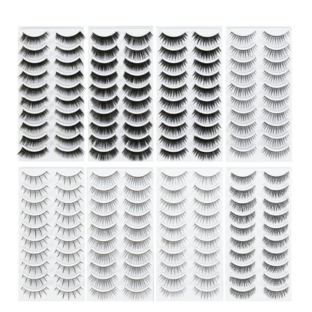 80 Pairs Natural Fake Eyelashes 8-Style Thick Long Eye Lashes for Women Lady Teenager