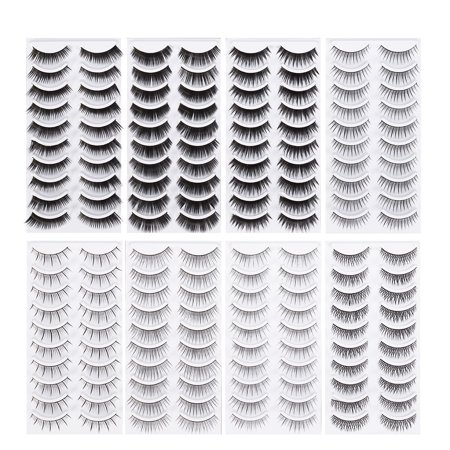 80 Pairs Natural Fake Eyelashes 8-Style Thick Long Eye Lashes for Women Lady Teenager Girls](White False Eyelashes)