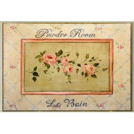 Stupell Industries WRP-625 Powder Room Le Bain Cream Pink Rect Wall Plaque
