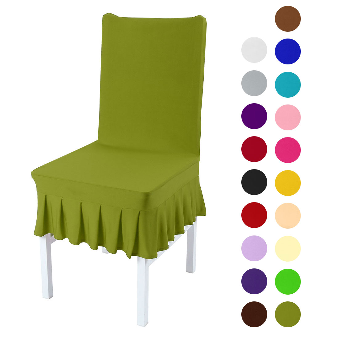 Stretchy Spandex Ruffled Skirt Short Dining Room Chair Covers Washable Removable Seats Protector Slipcovers