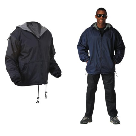 Reversible Nylon Jacket with Fleece Lining, Navy Blue, 2XL