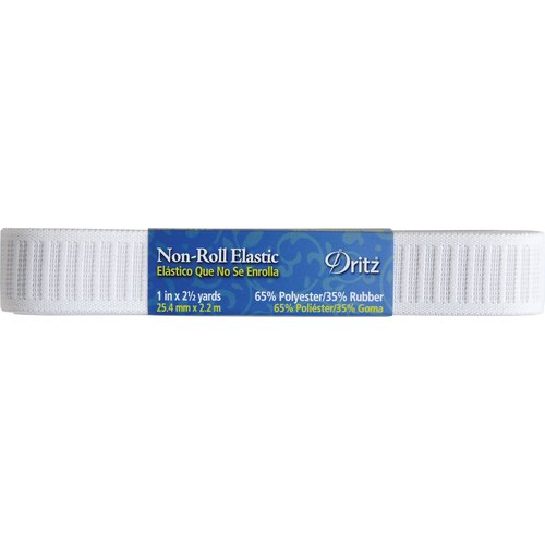 "Non-Roll Elastic, 1"" x 2-1/2 Yards, White"