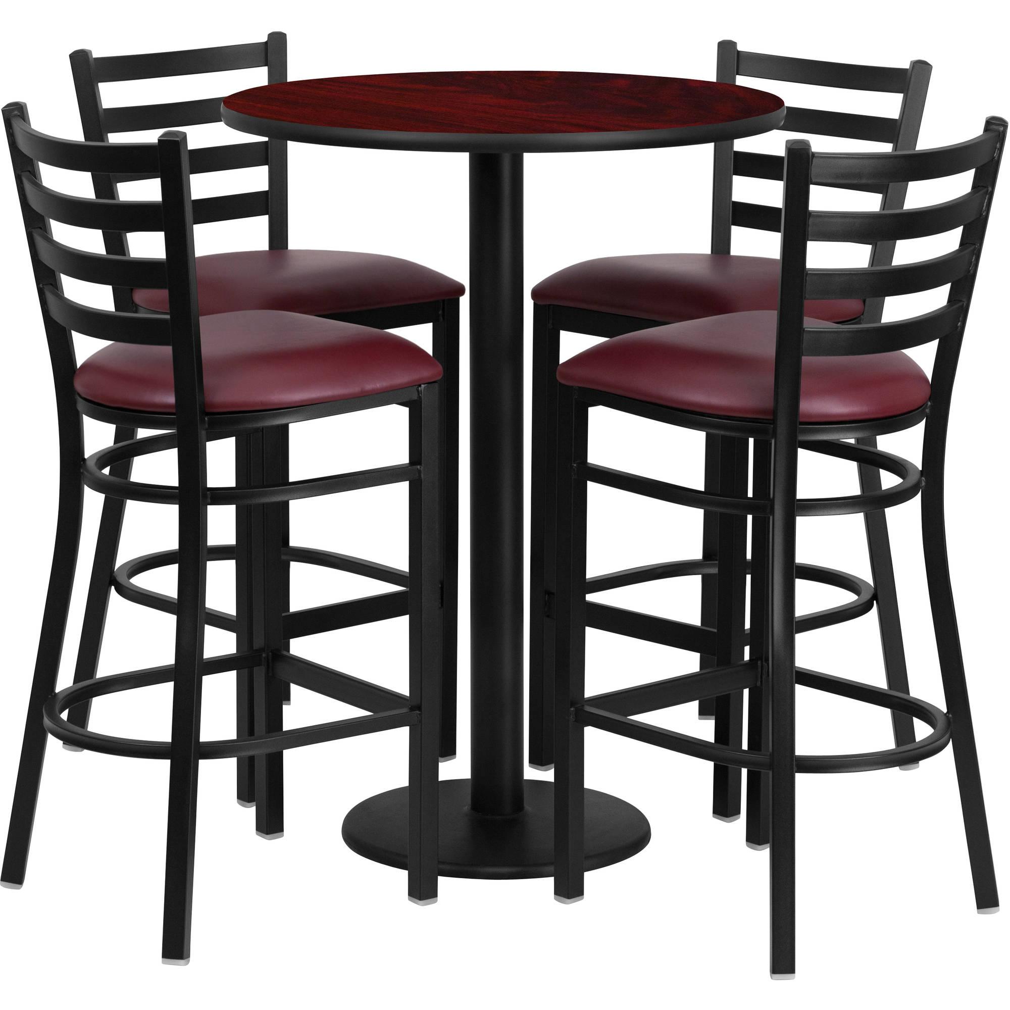 Flash Furniture 30'' Round Mahogany Laminate Table Set with 4 Ladder Back Metal Barstools, Burgundy Vinyl Seat