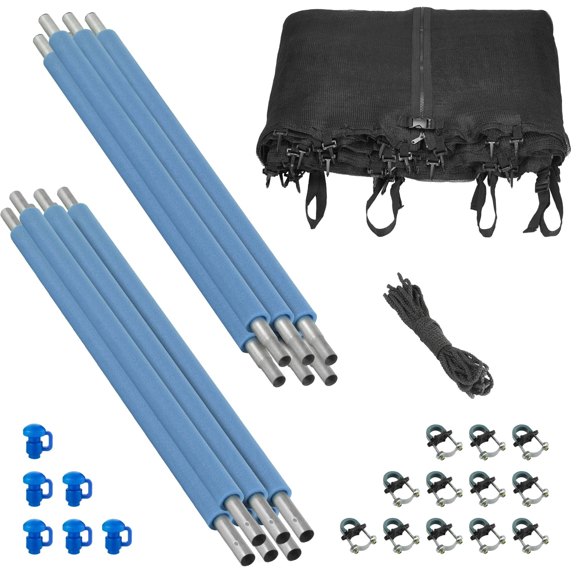 Trampoline Enclosure Set, to fit 12 FT. Round Frames, for 3 or 6 W-Shaped Legs -Set Includes: Net, Poles & Hardware Only