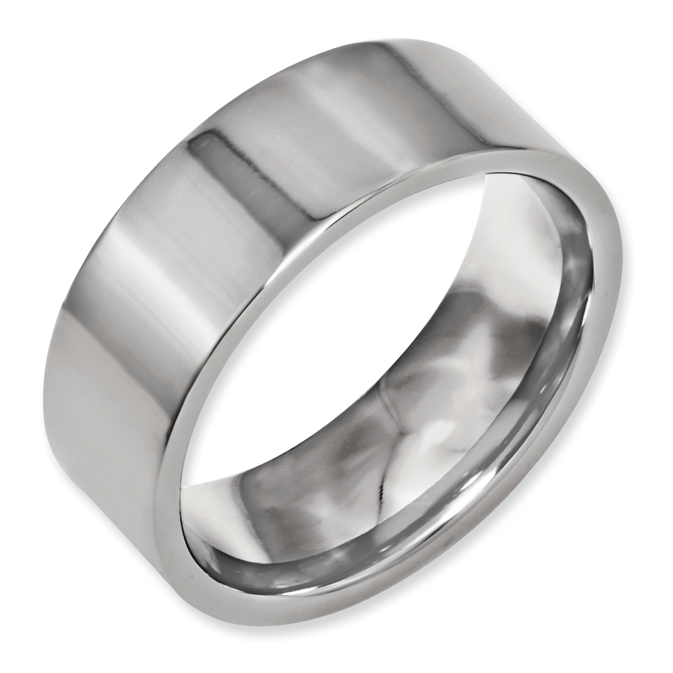 Titanium Flat 8mm Wedding Ring Band Size 9.50 Classic Fashion Jewelry Gifts For Women For Her - image 3 of 7