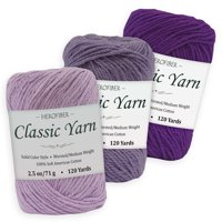 Cotton Yarn - 3 Solid Colors [2.5 oz Each]   Lavender + Purple Iris + Purple Royal   Worsted/Medium Weight - Assortment for Knitting, Crochet, Needlework, Decor, Arts & Crafts Projects