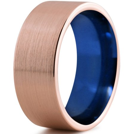 Tungsten Wedding Band Ring 10mm for Men Women Blue 18k Rose Gold Plated Flat Pipe Cut Brushed Polished Lifetime Guarantee