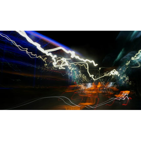 LAMINATED POSTER Long Exposure Night Abstract Light Painting Poster Print 24 x 36