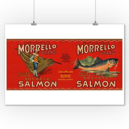 Morrello Brand Salmon Label - Bellingham, WA (9x12 Art Print, Wall Decor Travel Poster) ()