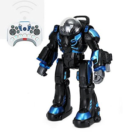 Spaceman RC Robot With Shoots Soft Rubber Missiles, Flashing Lights and Sound, Walking Talking and Dancing (Black)