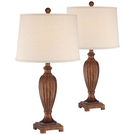 Regency Hill Traditional Table Lamps Set of 2 Copper Bronze Tapered Drum Shade for Living Room Bedroom Nightstand Office Family Sp4805 Sp Lamp