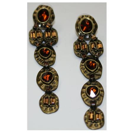 Heidi Klum Faceted Stone Linear Pierced Earrings Goldtone  J263119