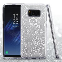 Samsung Galaxy S8 Case, by ASMYNA Flowers Embossed Full Glitter Hybrid PC/TPU Case Cover For Samsung Galaxy S8 - Silver