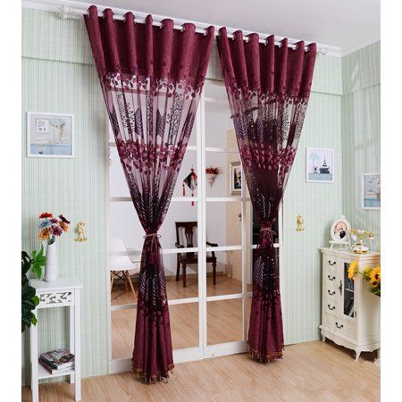 250*100cm Living Room Curtain Floral Tulle Door Window Curtain Drape Panel  Sheer Scarf Valances Glass Yarn Curtains