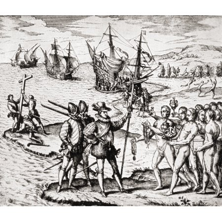 The First Landing Of Columbus On San Salvador Island West Indies Christopher Columbus C1451 To 1506 Italian Navigator Colonizer And Explorer From The Great Explorers Columbus And Vasco Da Gama After
