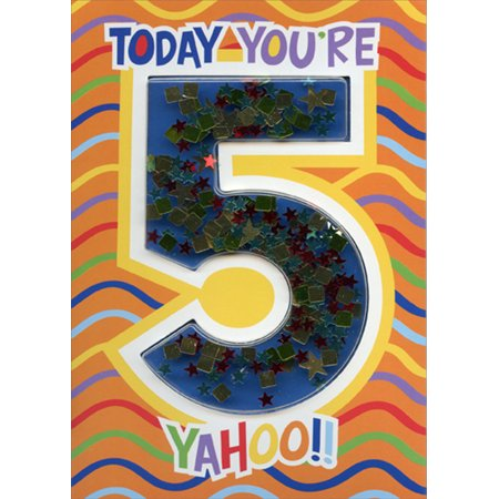 Paper House Productions Today You're 5 Confetti Shaker 3D Age 5 / 5th Birthday (5th Birthday Card)