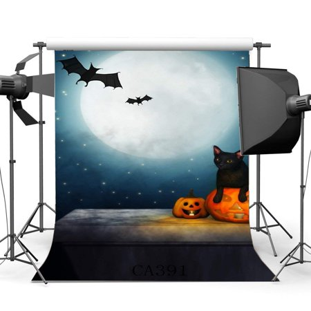 ABPHOTO Polyester 5x7ft Photography Backdrops Halloween Horror Night Mysterious Moon Black Cat Bats Pumpkin Scene Seamless Newborn Baby Adults Masquerade Portraits Photo Background Photo Studio Props