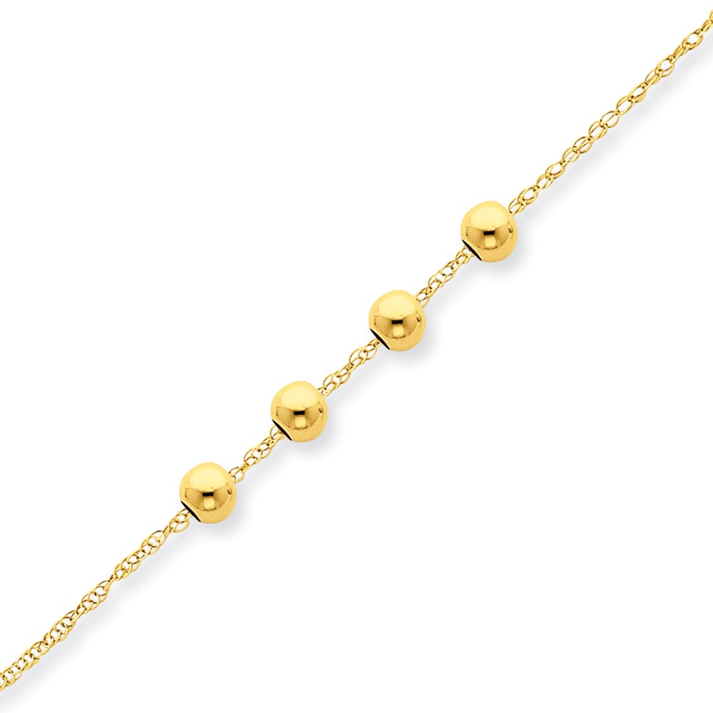 14k Yellow Gold 18in Chain w/ 4, 4mm Bead Necklace