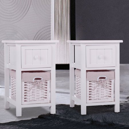 JAXPETY Set of 2 White Chic Nightstand Wood End Side Table Bedroom Home Storage Furniture w/ 1 Wicker Basket ()