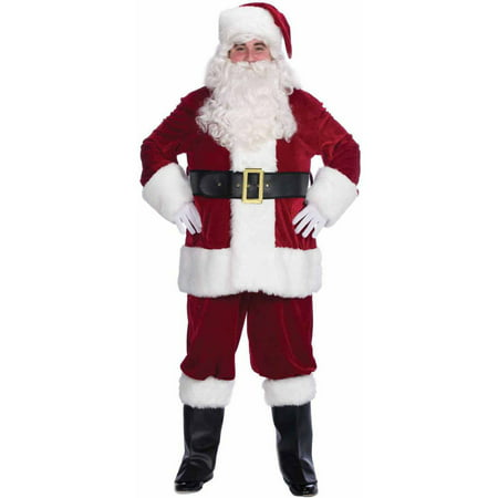 Velvet Complete Santa Men's Halloween Costume - Good Halloween Costume With Beard
