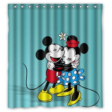DEYOU Mickey Mouse And Minnie Shower Curtain Polyester Fabric Bathroom Size 66x72 Inches