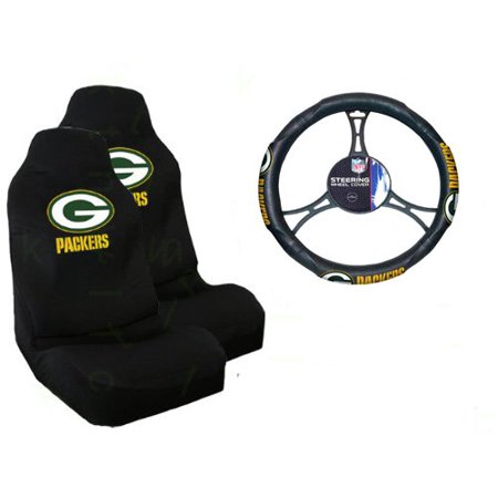 a set of 2 universal fit nfl front bucket seat covers and comfort grip steering wheel cover. Black Bedroom Furniture Sets. Home Design Ideas